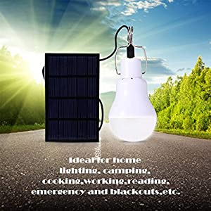 Solar Light Bulb Outdoor Afoskce 130LM Portable Solar Powered Led Bulb Light for Chicken Coops Shed Hiking Fishing Camping Tent Lighting (Color: White-1, Tamaño: portable)