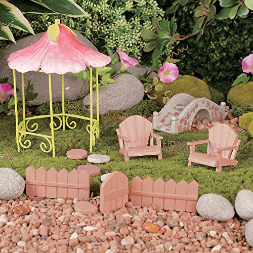 Garden gnome and fairy miniature wooden outdoor furniture