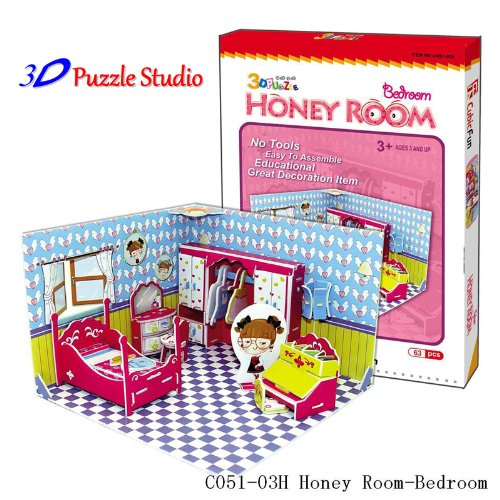 3D Puzzle Honey Room Bedroom. Cute for Kids, fun & educational. - 1