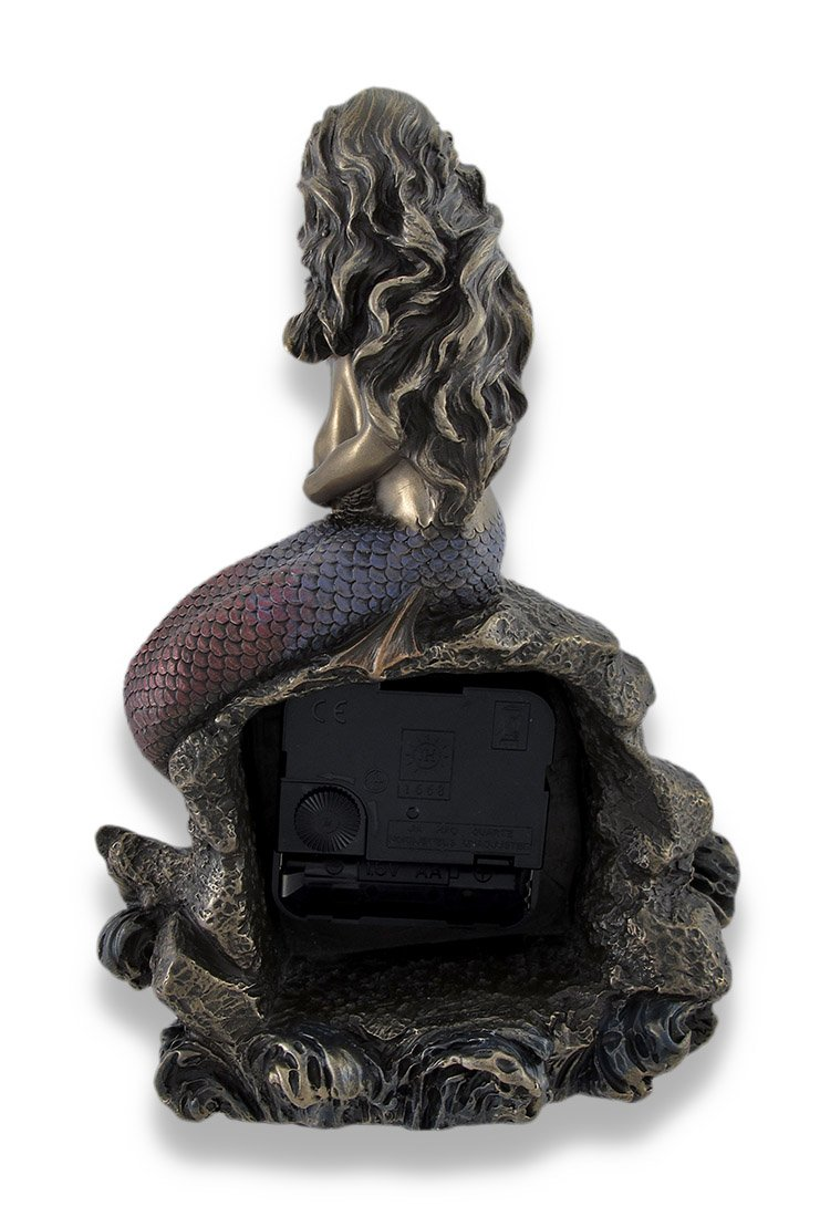 Mermaid Mother and Child Bronzed Clock Statue