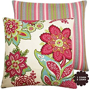 "Raspberry Fields Collection - Annie Selke Designer Boutique 18"" Square Throw Pillow Covers - Flowers and Stripes - Red, White, Blue, Pink, Rose, Lime, Sage, Green and Ivory Hues - 1 Pillow Cover"