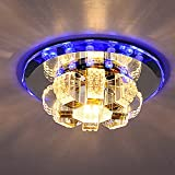 BHCLIGHT Crystal Chandelier Lighting LED Warm White and Blue for Study Office Meeting Dining Room Bedroom Living Room Balcony Corridor Hallway