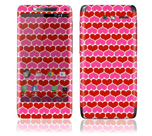 Best  Motorola Droid Razr M Decal Phone Skin Decorative Sticker w/ Matching Wallpaper - Hot Hearts