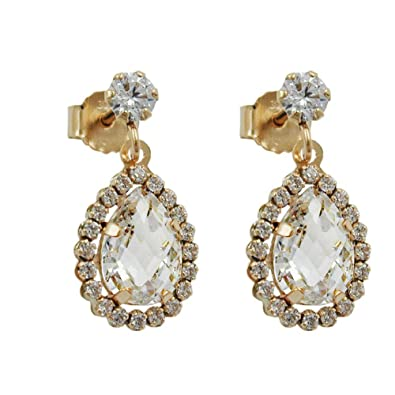 Plug, CZ 9ct Gold Earrings