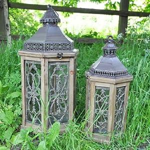 Set Of 2 Antique Bronze Finish Metal Moroccan Style Lanterns G