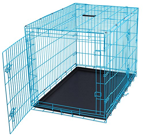 Internet's Best Wire Dog Kennel | Large (42 Inches) | Double Door Metal Steel Crates | Indoor Outdoor Pet Home | Folding and Collapsible Cage | Blue (Big Dog Kennel compare prices)