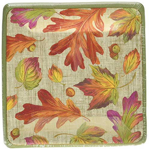 entertaining-with-caspari-10970sp-linen-leaves-square-salad-dessert-plates-orange-pack-of-8
