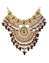 Lucky Jewellery Maroon Gold Plated Bridal Jewellery Set For Women