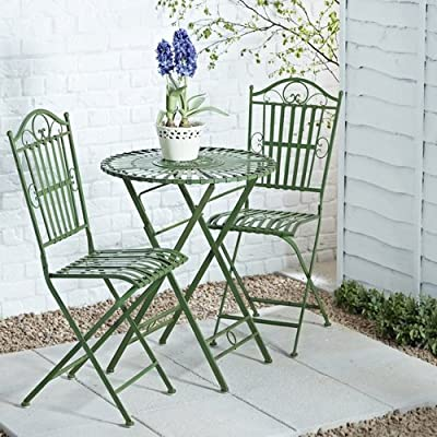 French Ornate Antique Green Wrought Iron Metal Garden Table and Chairs Bistro Furniture Set