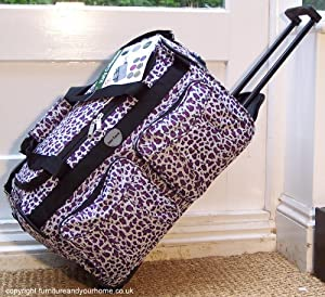 Small Travel Animal Print Holdall trolley Luggage Bag Wheels hand carry on Purple Leopard