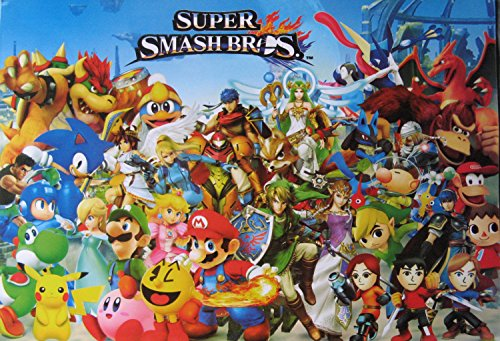 Super Smash Bros. busy horiz #B POSTER 21 x 14.5 Mario Pokemon Zelda video game sensation (sent FROM USA in PVC pipe) (Smash Brothers Poster compare prices)