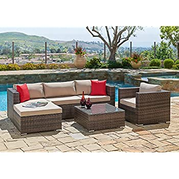 Suncrown Outdoor Furniture Sectional Sofa & Chair (6-Piece Set) All-Weather Brown Checkered Wicker with Brown Seat Cushions & Modern Glass Coffee Table | Patio, Backyard, Pool | Incl. Waterproof Cover