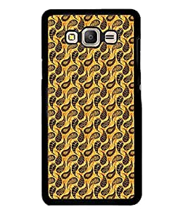 Fuson Premium Golden Pattern Metal Printed with Hard Plastic Back Case Cover for Samsung Galaxy On7
