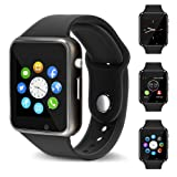 Smart Watch - 321OU Touch Screen Bluetooth Smart Wrist Watch Smartwatch Phone Fitness Tracker with SIM SD Card Slot Camera Pedometer for iPhone iOS Samsung LG Android for Kids Women Men (Black) (Color: Black)