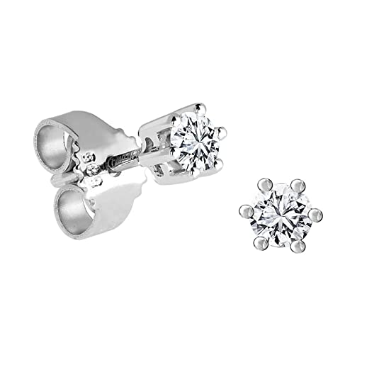 Diamond Line 005 Women's Solitaire Stud Earrings 14 Carat 585 White Gold and 2 Diamonds ( Tinted White, Flawless )