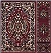 Ottomanson Paterson Collection Traditional Oriental Design Area Rug, Dark Red, 3 Piece Set