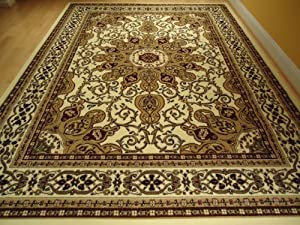 Large ivory 8x11 persian style rug oriental for Living room rugs amazon