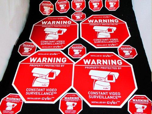 Big 4 Security Camera Surveillance Signs & Dozen Sticker Set!