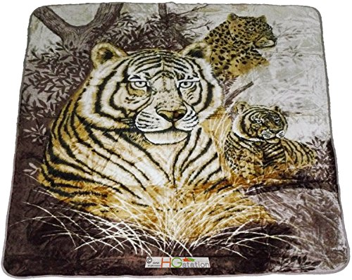 79x94 Soft Faux Mink Safari Wild Tigers Cheetah Jaguar Feline Big Cats Plush Throw Large Queen Blanket