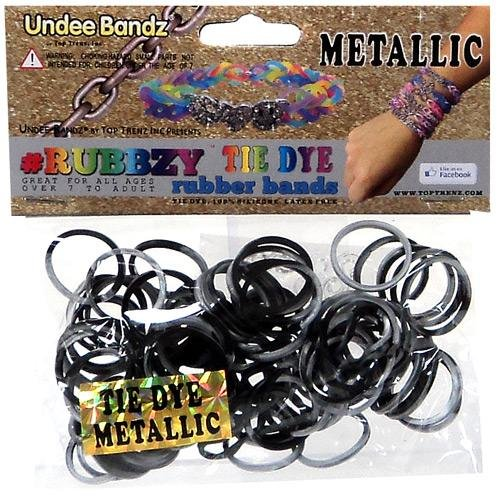 Undee Bandz Rubbzy 100 METALLIC BLACK & SILVER Tie-Dye Rubber Bands with Clips - 1