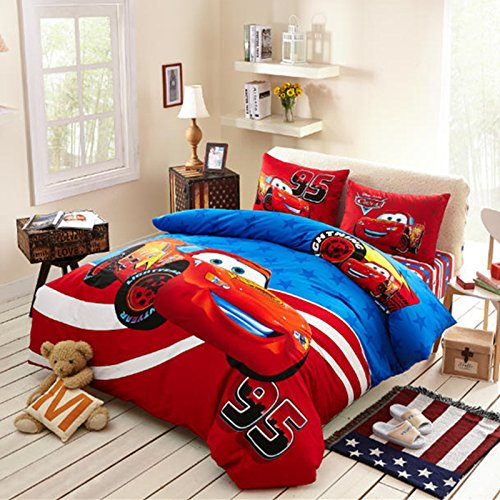 Sisbay Red Sports Car Bedding Queen Size,Boys Motorcycle Cartoon Bed Set,Kids Birthday Gift Fitted Sheet