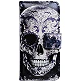 Casea Packing Bcov Cool Floral Skull Card Slot Leather Wallet Case Cover for iPhone 5 5G 5S