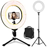 LED Ring Light - 14 inch Bicolor Dimmable Halo Vlogging Socialite Lighting Kit with 70'' Stand & Table Top Stand, Superbright, Durable, Adjustable Angle & Easy Assembly for Studio Video Selfie Youtube (Color: Black Bi-Color Dimmer Ring Light, Tamaño: 14