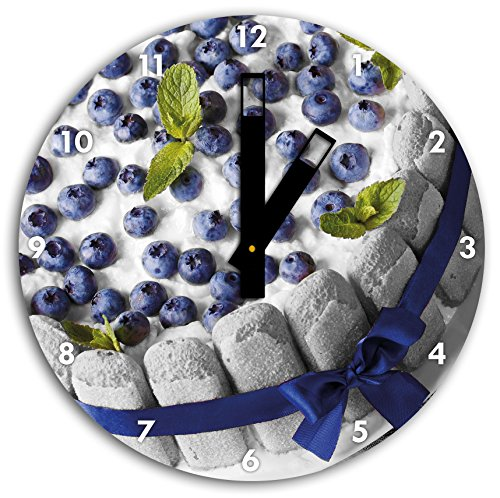 Délicieux tarte aux bleuets noir blanc, diamètre 30cm / horloge murale avec du noir au carré les mains et le visage, objets décoratifs, Designuhr, aluminium composite très agréable pour salon, bureau