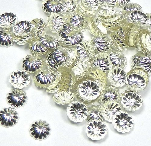 300 Silver-plated Brass, 9x2mm Ribbed Round, Fits 9-11mm Beads Pkg of 300
