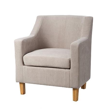 Sillón tapizado de tela beige moderno para salón France - Lola Home