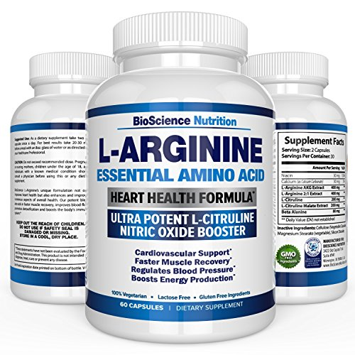 L-Arginine 1000mg Plus 340mg with L-Citrulline Cardio Heart Supplements | Nitric Oxide Boosters for Endurance and Energy | BioScience Nutrition USA | 60 Capsules (Feet Of Endurance compare prices)