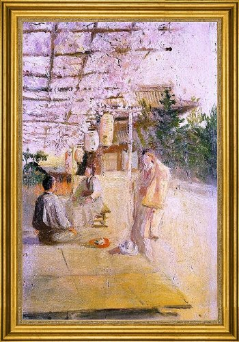 "Robert Frederick Blum Japanese Tea Party - 18"" X 27"" Framed Premium Canvas Print"