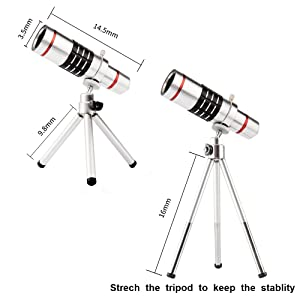 iPhone Telephoto lens, Lingwei 18X iPhone 6/6s/6 plus/6s plus Camera Telephoto Lens / Tripod / Phone Holder / Hard Case / Bag / Cleaning Cloth