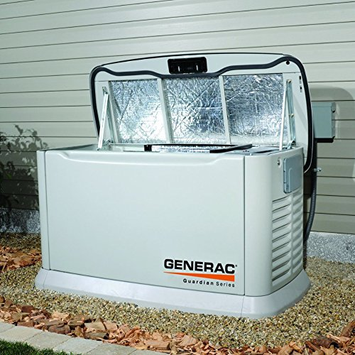 Generac 6438 11,000 Watt Air-Cooled Steel Enclosure Gas Powered Standby Generator with...