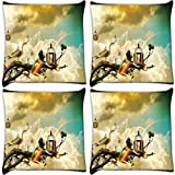 Snoogg Creative Wallpaper Ideas Pack Of 4 Digitally Printed Cushion Cover Pillows 12 X 12 Inch