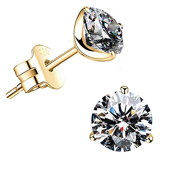 400070c3b STUNNING FLAME 18K Gold Plated Silver Brilliant Cut Simulated Diamond CZ  Stud Earrings (yellow- ...