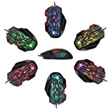 Gaming Mouse with Unique Silent Click, Wired 5500 DPI High-Precision 7 Button LED Optical USB Computer Mouse Gamer for Windows 7/8/2000 / XP / Vista, Mac OS or Latest Version.
