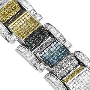14K White Gold Mens Diamond Bracelet with Yellow and Blue Diamonds 33.67 Ctw
