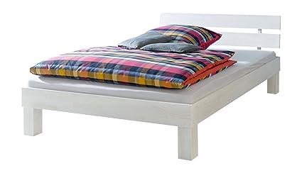 Solido grande letto/futon bianco 140x220 in faggio Eco con assi di legno 60.86-14-220 W