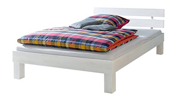 Solido letto/futon 90x200 in faggio Eco color bianco con assi di legno 60.86-09 W