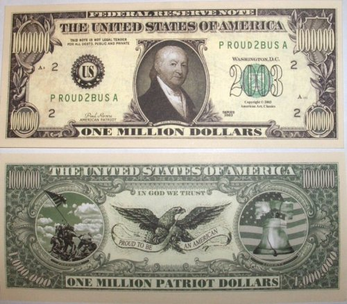 Set of 10 Bills-Patriot Million Dollar Bill