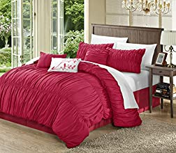 Perfect Home 11 Piece Fresca Pleated Bed in a Bag Comforter Set Queen Red with White Sheet Set