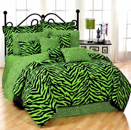 Kimlor 07152900092Km Lime Zebra Comforter Set - Queen front-1002118