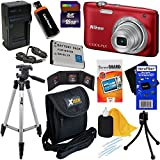 Nikon Coolpix S2900 20.1 MP Digital Camera with 5x Zoom and 720p HD Video (Red) + EN-EL19 Battery & AC/DC Charger + 9pc Bundle 16GB Deluxe Accessory Kit w/ HeroFiber® Ultra Gentle Cleaning Cloth