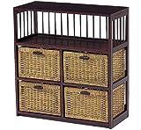 木製フレーム棚付き籐(ラタン)チェスト/ランドリー 70巾2列2段4杯