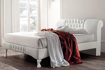 Knightsbridge Swan Eleganter Designer Kunstleder weiß Bett Doppelbett- oder King Size von Sleep Design, Kunstleder, Weiß, King 5FT