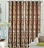 "Hargunz Eyelet Plain Flower Polyester Long Door Curtains - 108""x48"", Pack of 2 Curtain, Brown (KS063-2-3)"