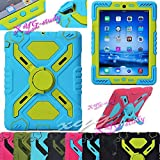 NEW Waterproof Shockproof Dirt Snow Sand Proof Survivor Extreme Army Military Heavy Duty Cover Case Kickstand for Apple iPad Mini Kids Children Gift @XYG (1-blue/green)