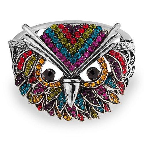 Bling Jewelry Rainbow Crystal Angry Owl Bird Bangle Statement Bracelet