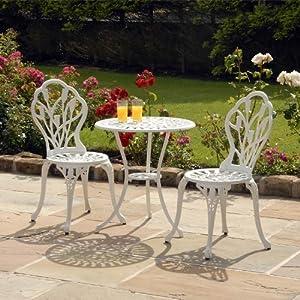 suntime salon de jardin en fonte d 39 aluminium motif tulipe blanc jardin. Black Bedroom Furniture Sets. Home Design Ideas